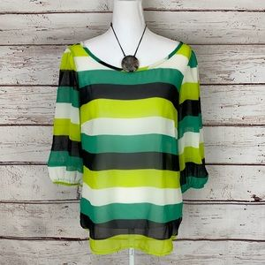 Tinley Boutique Stripe Sheer 3/4 sleeve Blouse M